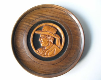 Vintage French Breton Hand Sculpted Wooden Plate m236
