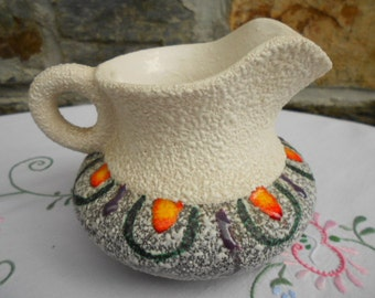 Vintage French Mid Century Modern Art Pottery Pitcher Creamer (A108)