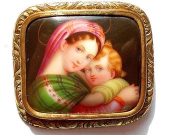 Antique French Handpainted Miniature Portrait Madonna & Child after Raphael (A123)