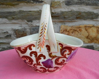 French Antique Keller & Guerin Lunéville Handpainted Floral Faience Basket (A207)