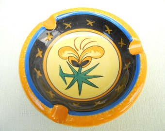 HB  Quimper French Vintage Handpainted Floral Ash Tray (A213)