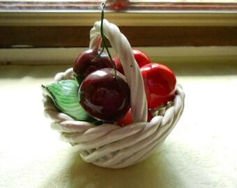 Vintage Italian Faience Cherry Basket (A259)