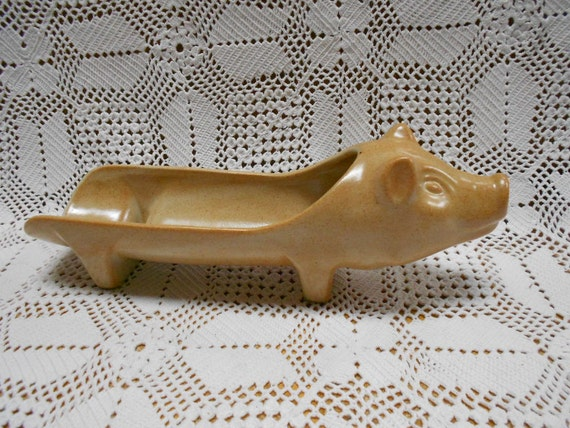 French Vintage Stoneware Pig Aperitif Sausage Server (A419)