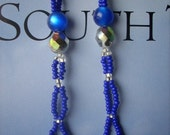 Midnight Blue and Crystal Beaded Earings