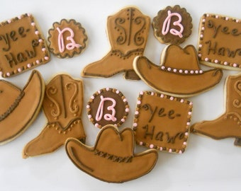 Yee-Haw! Boots and Hat custom cookies 2 dzn western themed cowboy hat and cowboy boots free personalization decorated cookie favor