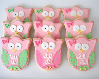 2 dzn. Custom Owl Cookies decorated cookies for woodland themed birthday party or baby shower 1st bithday party favor or treat table