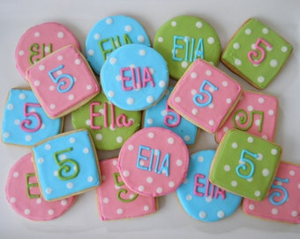 Custom Colorful Polka Dot Cookies (2 dzn. 24 cookies) pink, green and turquoise theme decorated cookies FREE personalization name or number
