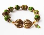 Green Bracelet - Antique Gold Yellow Bronze - Swarovski Crystals - Crazy Lace Agate