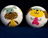 Fabric Covered buttons- Cute Dogs- 2 Large Buttons