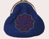 Felt Coin Purse with Arabic Embroidery-Blue