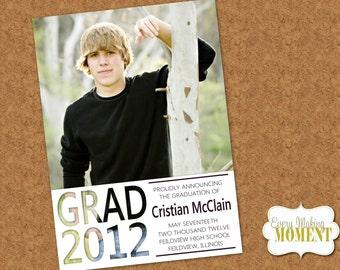 Graduation Announcement -- High School Graduation Announcement -- Photo Graduation Card -- Digital, custom, printable