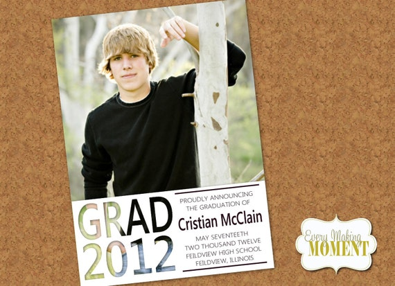 Graduation Announcement -- High School Graduation Announcement -- Photo Graduation Card -- Digital, custom, printable