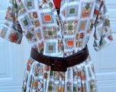 Reserved for Corey- 1950's  Vintage New look Atomic Rockabilly full skirt shirtwaist day dress Fab and Fun