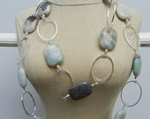 Amazonite and silver oval necklace.
