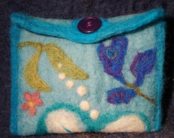 Felted Pouch Floral Design OOAK