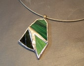 Funky chunky green stained glass pendant