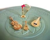 Miniature musical instruments string set band guitar mandolin violin harp brass vintage figurine small collectible
