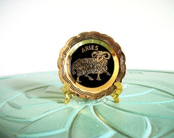 Miniature Aries plate star sign horoscope brass vintage figurine small collectible