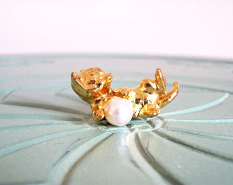 Miniature cat pearl ball playing brass white vintage figurine small collectible
