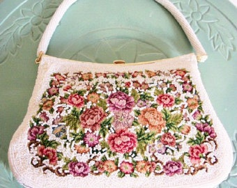 White bag purse clutch Cream Beaded Tapestry Embroidered Petite Point floral vintage wedding bridal