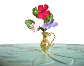 Miniature silk flowers vase red purple white brass vintage figurine small collectible