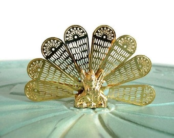 Miniature fireplace screen brass fan peacock shape vintage figurine small collectible