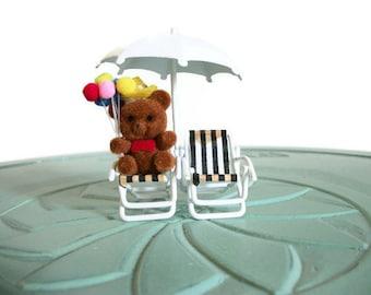 Miniature flocked teddy bear brown brass white beach umbrella chairs set vintage figurine small