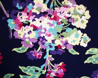 Fabric Canvas Wall Art Tree of Life water bouquet navy blue pink green white yellow handmade