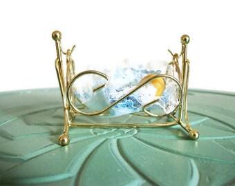 Miniature baby crib boy blue set brass vintage figurine small collectible