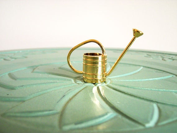 Miniature watering can brass vintage figurine small collectible