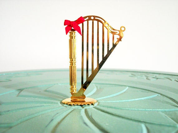 Miniature harp musical instruments strings red bow brass vintage figurine small collectible