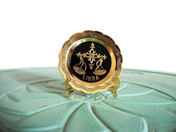 Miniature Libra plate star sign horoscope brass vintage figurine small collectible