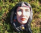 Indian Native American Woman Ceramic Painting