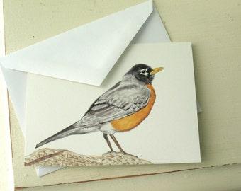 Bird Card robin bluebird watercolor print blank card by Nancelpancel on Etsy