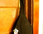 Black recycled felted sweater purse