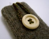 iPhone iPod cell phone felted wool sleeve/case/cover in brown with button closure