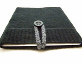 iPad Case Netbook Sleeve Cover Felted Wool Sweater in Black with Button Closure