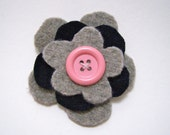 Grey, navy and pink flower brooch felted wool with pin closure and button