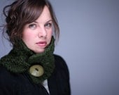 Valentines Day SALE Handmade dark GREEN chunky neck warmer cowl scarf  with large GREEN artsy button.