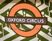 OXFORD CIRCUS Underground Tube Subway Sign in London England in Tiles - 8x10