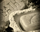 SET (3): Bathroom Faucet Hot and Cold Water Handles with Soap Dish & Pumice Stone in an Antique Feel, 3 - 8x10 Photograph Print (S2G)