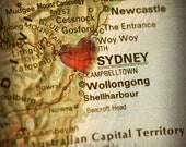 8x8 MAP of SYDNEY Australia with a Heart Shape with a Grunge Vintage Border for Home Decor - 8x8 Photograph Print