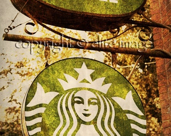 STARBUCKS COFFEE Sign with a Rust Frame with the New Logo in a Vintage Grunge Googie Look - Fine Art Print