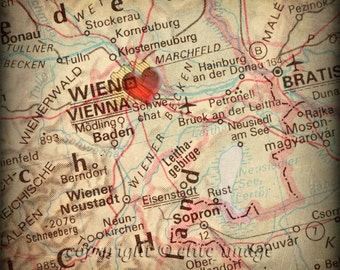 8x8 MAP of VIENNA Austria with a Heart Shape with a Grunge Vintage Border - 8x8 Photograph