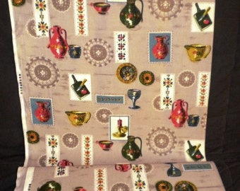 REMNANT Deadstock Vintage Fabric Unused 1950s Fabric 2 Yards Novelty Kitsch Print Vases Dishes Mid Century Eames Kitchen Curtains