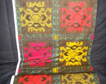 DEADSTOCK Vintage Fabric Unused 1950s Fabric Abstract Tribal Tiki Print Mid Century Eames Upholstery Drapery Fabric
