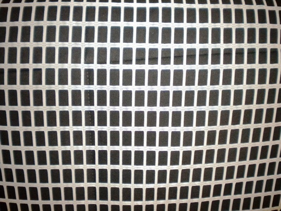 Last Piece NOS Vintage Fabric 1960s Sheer MOD Grid Pattern White Curtain Net Fabric Mid Century Modern Eames DEADSTOCK