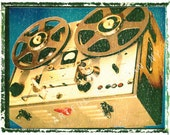 reel to reel tape recorder music art, music wall decor, musicians gift, gift for guy, gift for boyfriend, hipster, dude, rock n roll art