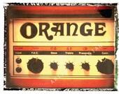 guitar print orange amp guitar art print photograph 5 x 7, gift for guy, gift for boyfriend