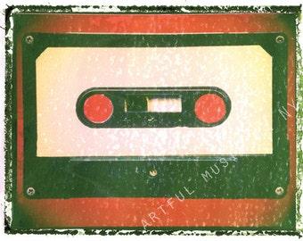 guitar print cassette tape art print 5 x 7, gift for guy, gift for boyfriend